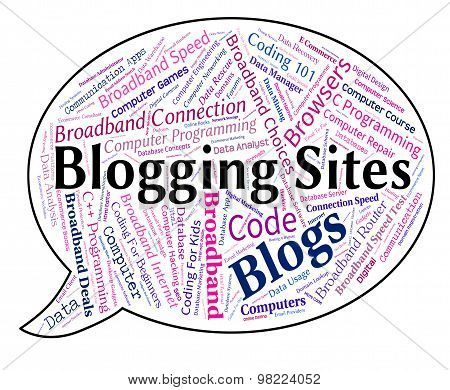 Blogging Sites Shows Website Word And Websites