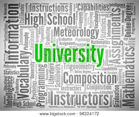 University Word Indicates Varsity Academy And Varsities
