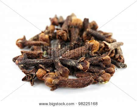 Pile of dried spice isolated on white