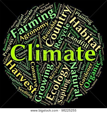 Climate Word Indicates Atmospheric Conditions And Weather
