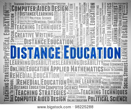 Distance Education Words Means Educating College And Train