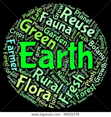 Earth Word Cloud Represents Eco Friendly And Conservation