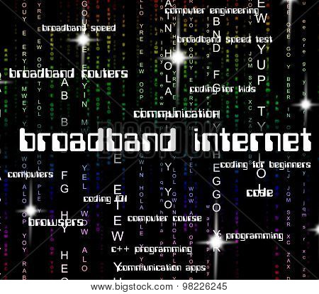 Broadband Internet Represents World Wide Web And Computing