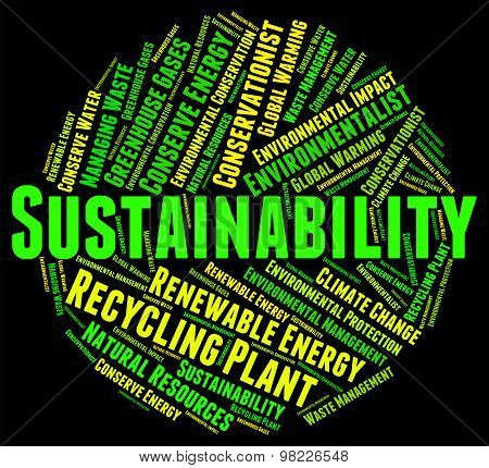 Sustainability Word Indicates Sustainable Recycling And Conserve