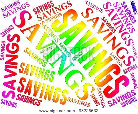 Savings Word Shows Text Save And Money