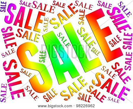 Sale Word Indicates Save Bargain And Closeout