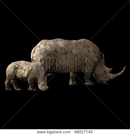 low poly rhino with baby