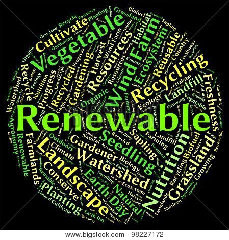 Renewable Word Shows Go Green And Reconditionable