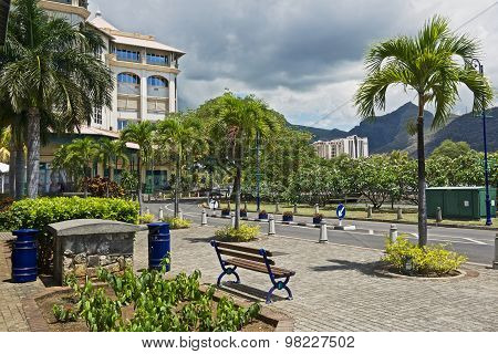 View to the Caudan waterside street in Port Louis, Mauritius.