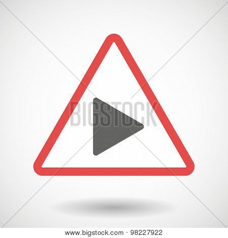 Warning Signal With A Play Sign