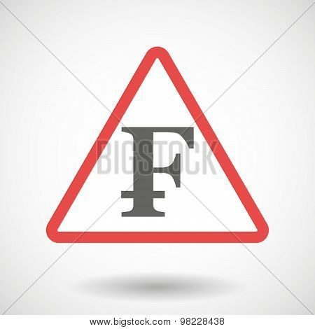 Warning Signal With A Swiss Franc Sign