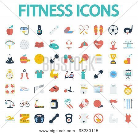 Fitness flat icons with long shadow for your website. Vector illustration.