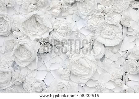 Decorative Background From White Paper Flowers