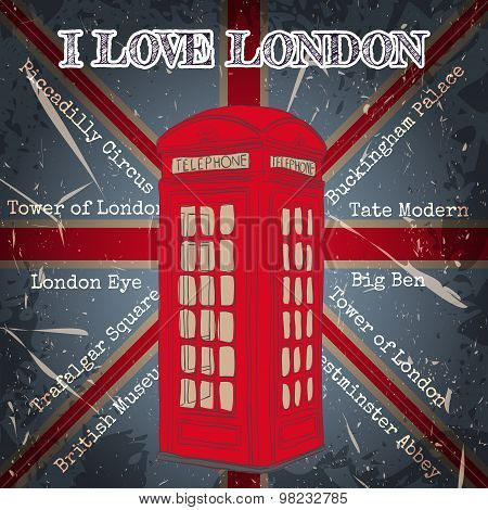 Vintage label with london telephone box on the grunge background. Retro hand drawn vector illustrati