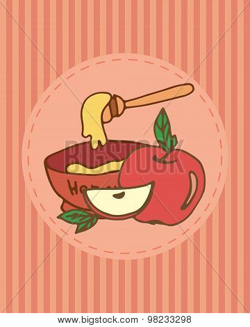Rosh Hashana Greeting Card With Apple And Honey