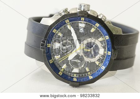 Splashy Black And Blue Watch Isolated