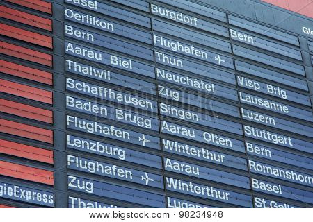 Arrival-departure Board Of The Zurich Main Railway Station
