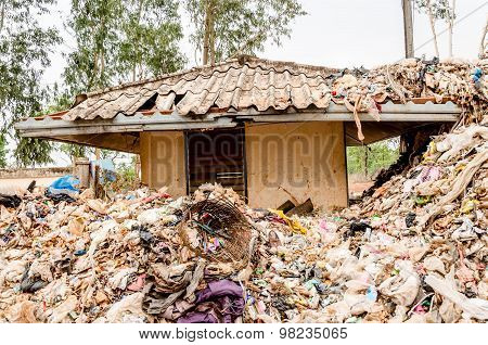 Nakonpanom, Thailand - April 22: Municipal Waste Disposal By Open Dump Procese.  Dump Site At Nakonp