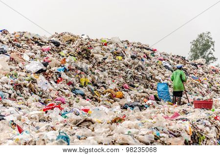 Nakonpanom, Thailand - April 22: Municipal Waste Disposal By Open Dump Procese.