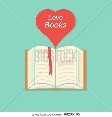 Open Book With A Bookmark And Heart