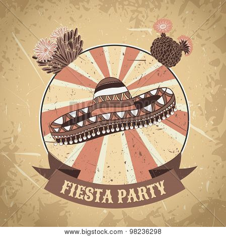 Mexican Fiesta Party label with sombrero and cactuses .Hand drawn vector illustration poster with gr