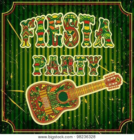 Mexican Fiesta Party Invitation with mexican guitar and colorful title. Hand drawn vector illustrati