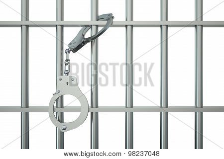 Metal Prison Bars With Handcuffs On White Background