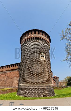 Saint Spirit Tower Of Sforza Castle (xv C.) In Milan, Italy