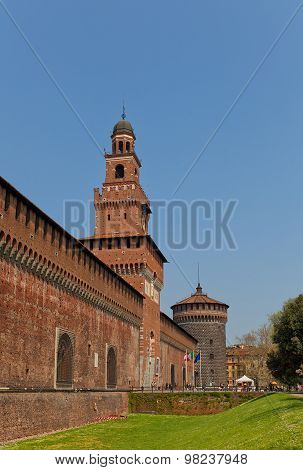 Towers Of Sforza Castle (xv C.). Milan, Italy
