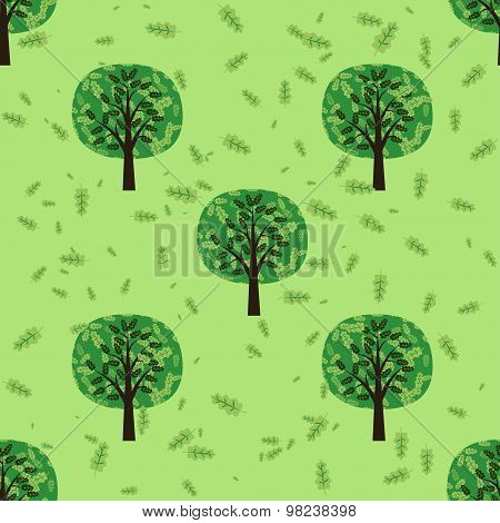 Seamless pattern with oak forest trees