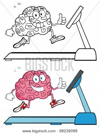 Brain Cartoon Character Running On A Treadmill Collection