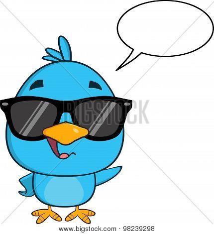 Funny Blue Bird With Sunglasses Cartoon Character