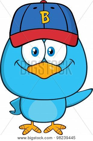 Blue Bird Cartoon Character With Baseball Hat Waving