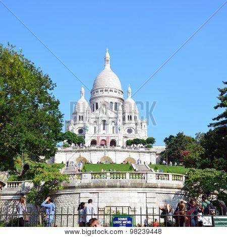 PARIS, FRANCE - SEPTEMBER 10, 2014: Basilica of the Sacre Coeur on Montmartre Paris France
