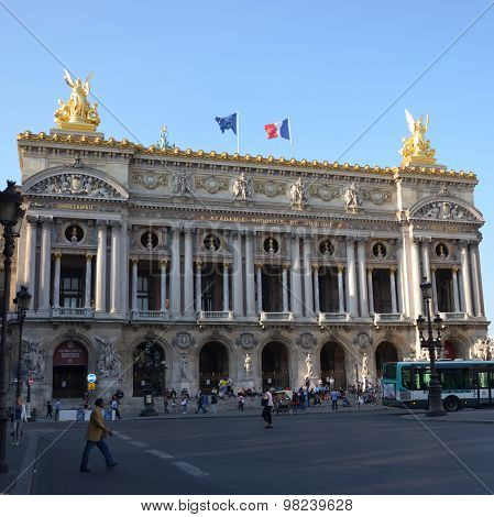 PARIS, FRANCE - SEPTEMBER 10, 2014: The Paris Opera or Garnier Palace.France. Opera House placed in Place de L'Opera. Designed by Charles Garnier in 1875. Neo Baroque Style.