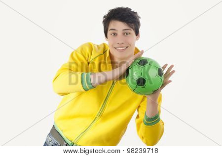 Young Man Catching A Football Ball.