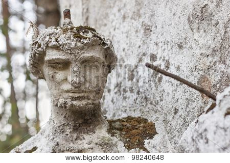 Detail of the face smashed historic statues. Torso of ancient statues. Lost sculpture.