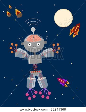 Cute Robot in Space - Illustration - Eps 10