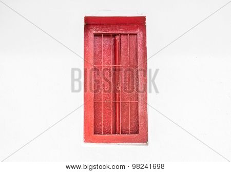 Vintage Red Window On Grunge Background