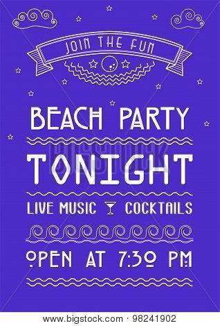 Retro summer party design poster or flyer on chalkboard - Illustration - Eps 10