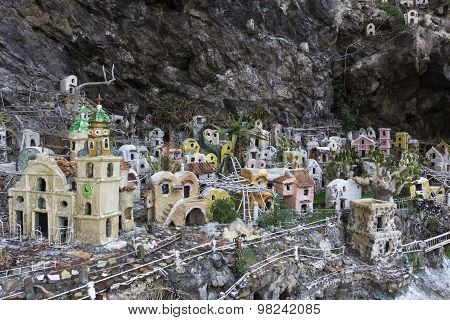 The Miniature Village In The Cliff In Praiano