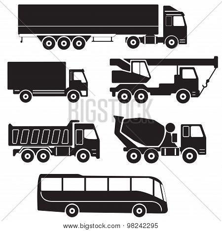 Truck icons set. Vector collection of vehicles.