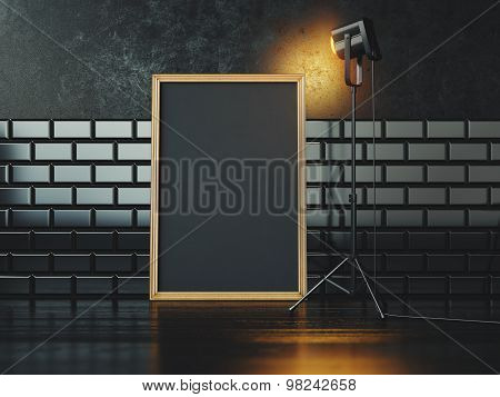 Black poster and lamp. 3d rendering