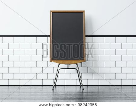 Black poster on the chair and white vintage wall. 3d rendering
