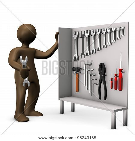 Tool Cabinet, Brown Figurine With Wrench