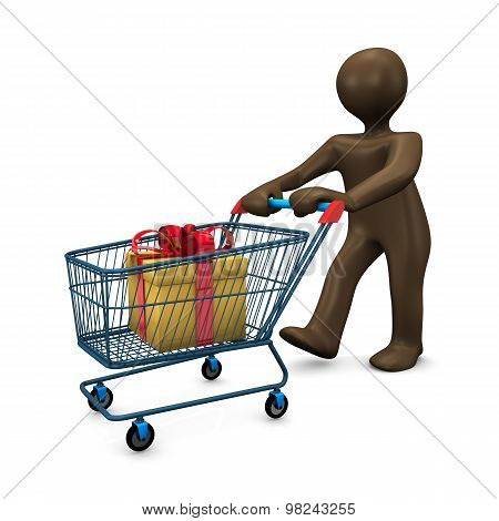 3D Illustration, Brown Figurine, Shopping Cart, Shopping