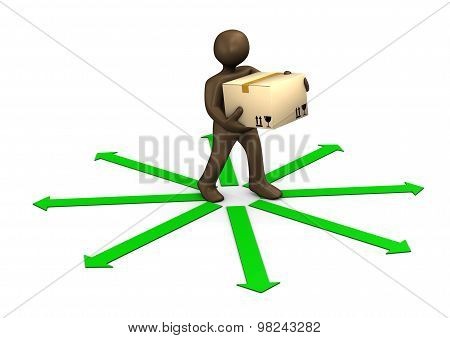 3D Illustration, Brown Figurine, Parcel Deliveryman And Green Arrows