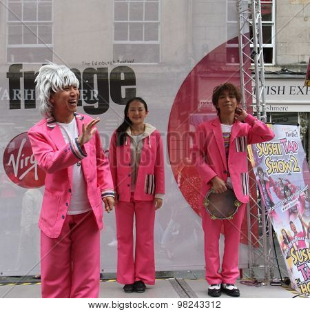 EDINBURGH - AUGUST 8: Members of Tokyo Tapdo! publicize their show Sushi Tap Show 2 during Edinburgh Fringe Festival on August 8, 2015 in Edinburgh, Scotland