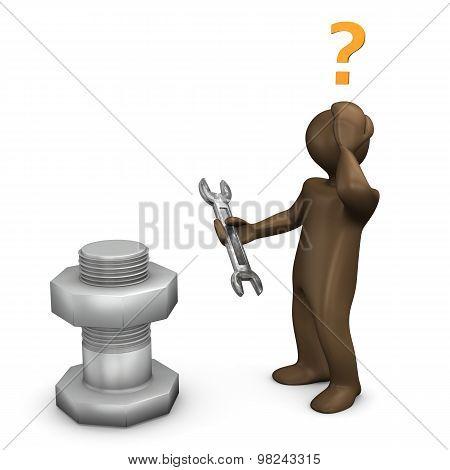 3D Illustration, Brown Figurine, Wrong Tool