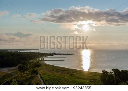 Sunrise Over The Curonian Lagoon In Nida Resort Town. Neringa, Lithuania
